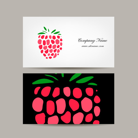 business card template: Business card template, raspberry design. Vector illustration