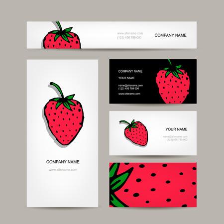 negocios comida: colección de tarjetas de visita, diseño de la fresa. ilustración vectorial