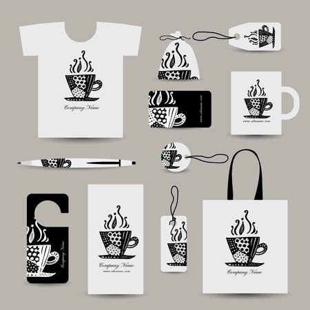 tshirts: Corporate business cards, coffee cup design. Vector illustration Illustration