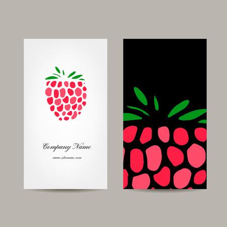 raspberry: Business card template, raspberry design. Vector illustration
