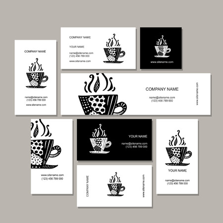 abstract business: Business cards collection, coffee cup design. Vector illustration Illustration