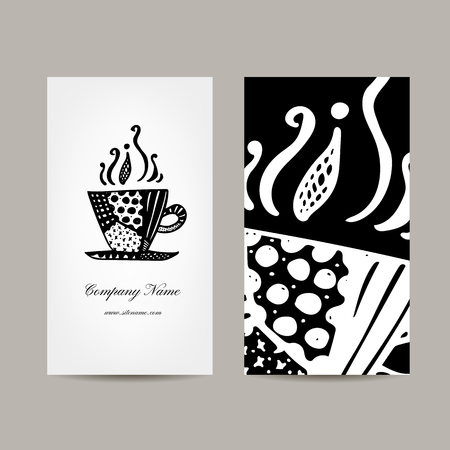 business card design: Business card template, coffee cup design. Vector illustration