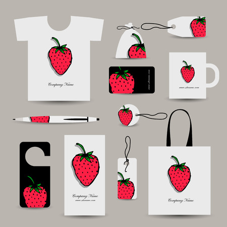 label design: Corporate business cards, strawberry design. Vector illustration
