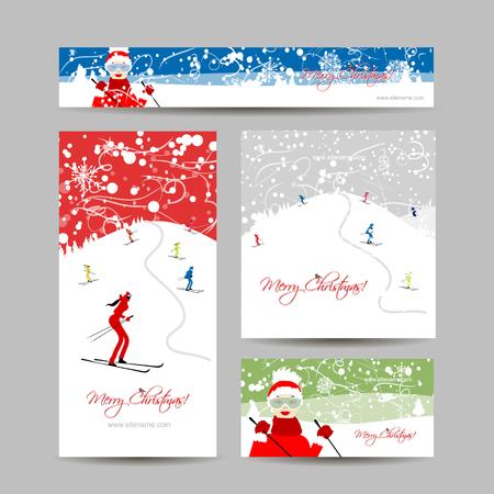 boy friend: Business cards design. People skiing, winter mountain landscape. Vector illustration