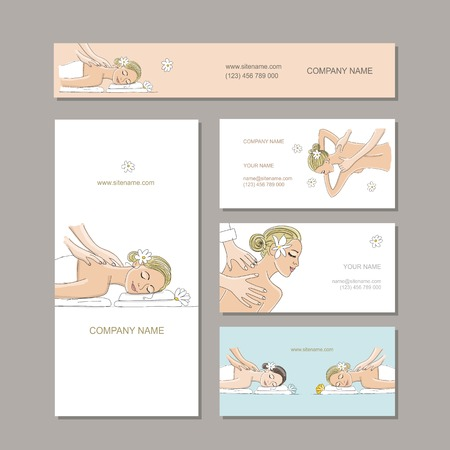 Business cards design, women in spa saloon. Vector illustration Ilustração