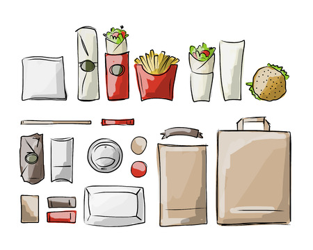 food tray: Tray with fast food, sketch for your design. Vector illustration Illustration