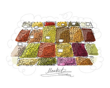 legumbres secas: bazar oriental, boceto de su diseño. ilustración vectorial Vectores