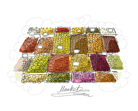 dried: Oriental bazaar, sketch for your design. Vector illustration