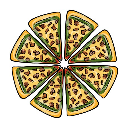 chunk: Pieces of pizza, sketch for your design. Vector illustration
