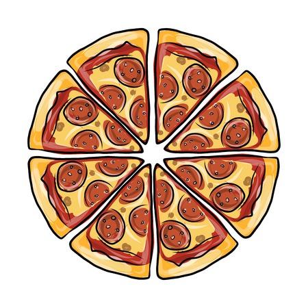 pizza: Los pedazos de pizza, boceto de su diseño. Ilustración vectorial