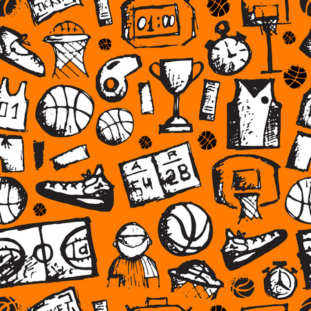 courts: Basketball seamless pattern, sketch for your design. Vector illustration