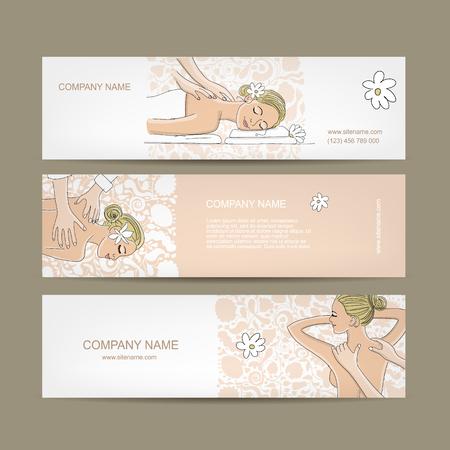 masajes relajacion: Diseño de banners, las mujeres en el salón de spa. ilustración vectorial