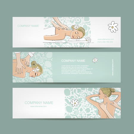 Banners design, women in spa saloon. Vector illustration Vettoriali