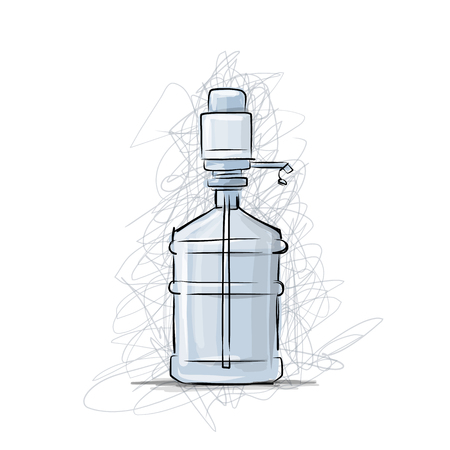 water cooler: Bottle with distilled water, sketch for your design. Vector illustration
