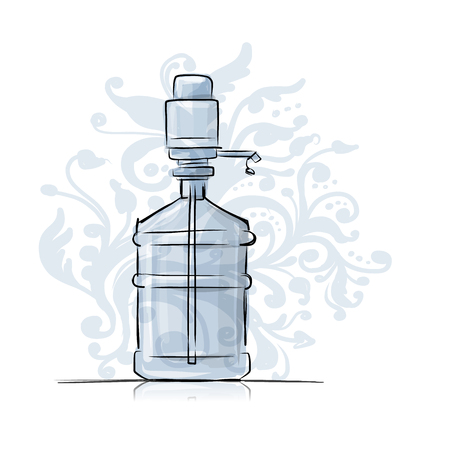 distilled: Bottle with distilled water, sketch for your design. Vector illustration