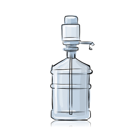 distilled water: Bottle with distilled water, sketch for your design. Vector illustration