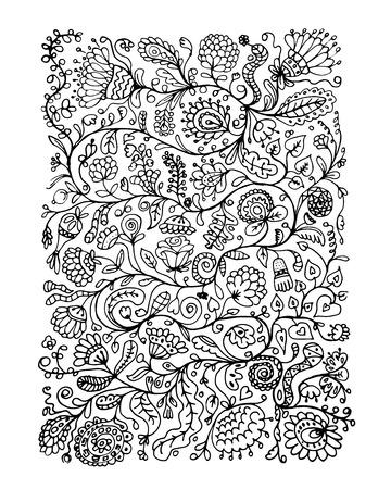 Floral pattern sketch for your design. Vector illustration