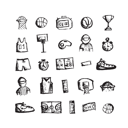 sports clothing: Basketball icons, sketch for your design. Vector illustration