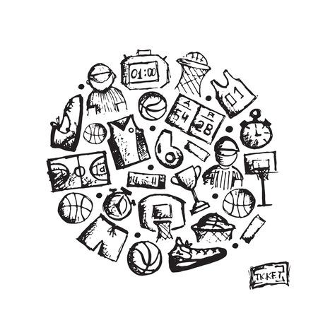 sports clothing: Basketball icons set, sketch for your design. Vector illustration Illustration