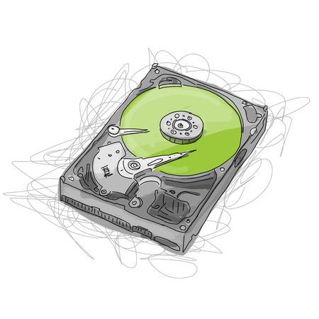 Hard drive, sketch for your design. Vector illustration