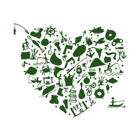 floater: Love fishing, sketch for your design. Vector illustration