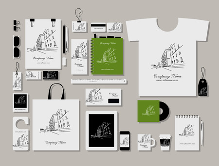 identity: Corporate flat mock-up template, cityscape design. Vector illustration