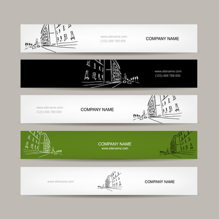 vintage border: Banners design with cityscape sketch. Vector illustration