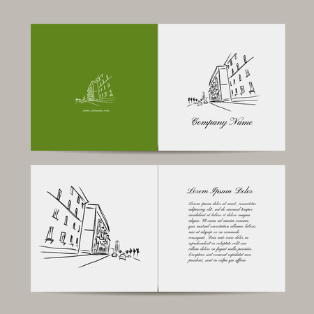 greeting card: Greeting card, cityscape designn. Vector illustration Illustration