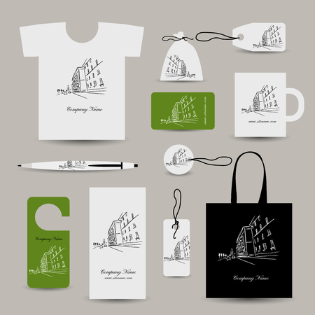 tshirts: Corporate business cards, cityscape design. Vector illustration