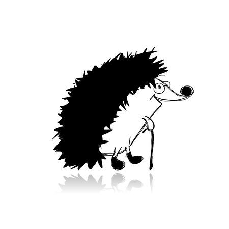 design vector: Funny hedgehog, sketch for your design. Vector illustration Illustration