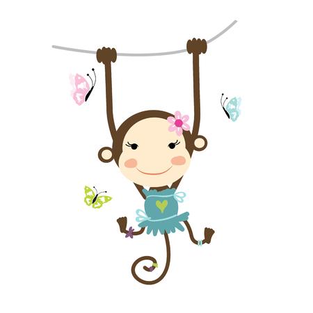 monkey: Funny monkey girl for your design. Vector illustration