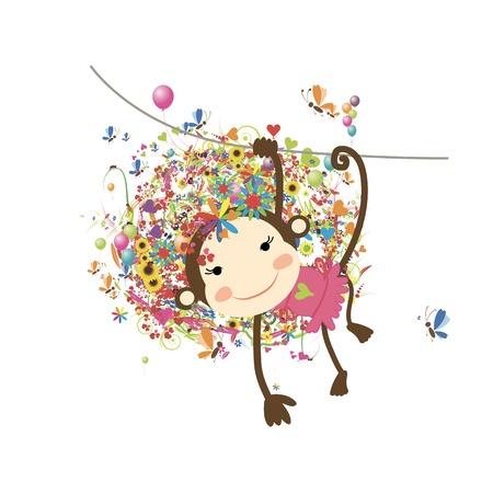 Funny monkey girl for your design. Vector illustration
