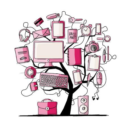 tablet: Art tree with digital office devices. Sketch for your design. Vector illustration Illustration