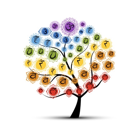 energy healing: Yoga tree with chakras, sketch foy your design. Vector illustration