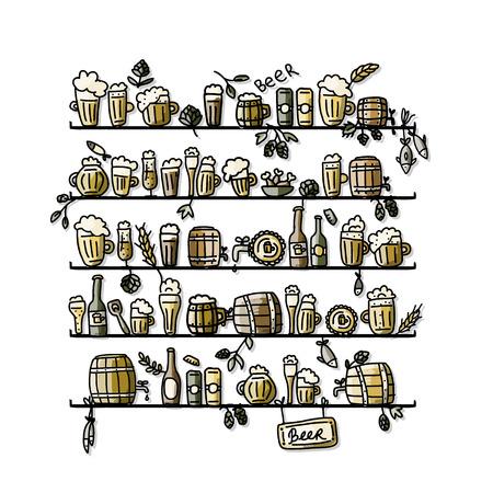 hop plant: Shelves with beer, sketch for your design. Vector illustration