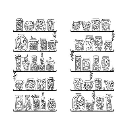 PICKLES: Estantes con tarros de la salmuera para su diseño. Ilustración vectorial