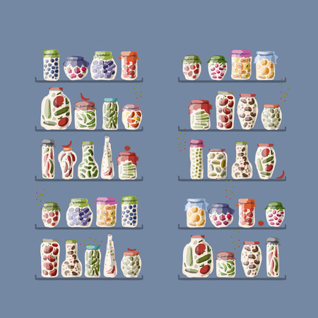 preserve: Shelves with pickle jars for your design. Vector illustration Illustration