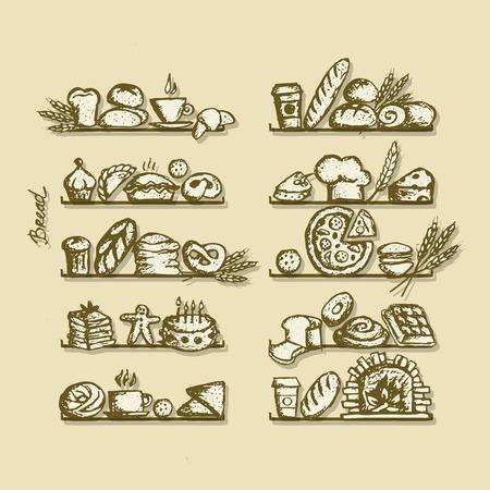 flour: Bakery on shelves, sketch for your design, sketch for your design. Vector illustration