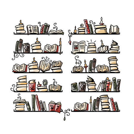 grammatical: Book shelves, sketch for your design. Vector illustration