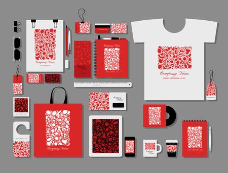 telefono caricatura: Corporate flat mock-up template, floral design. Vector illustration