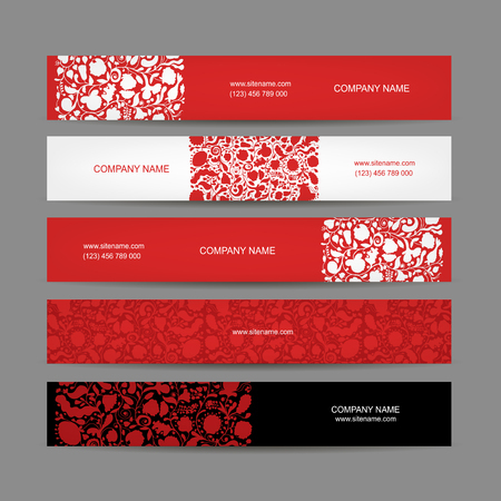 floral border frame: Banners set, floral design. Vector illustration