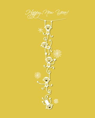 cartoon smile: Happy new year card design with funny monkeys. Vector illustration Illustration