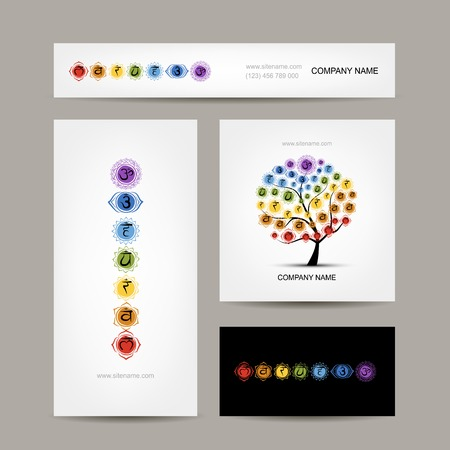 Business cards design, seven main chakras. Vector illustration