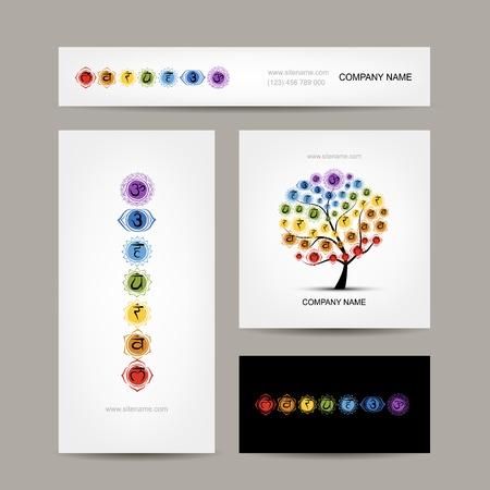 Visite kaartjes ontwerpen, zeven belangrijkste chakra's. vector illustratie