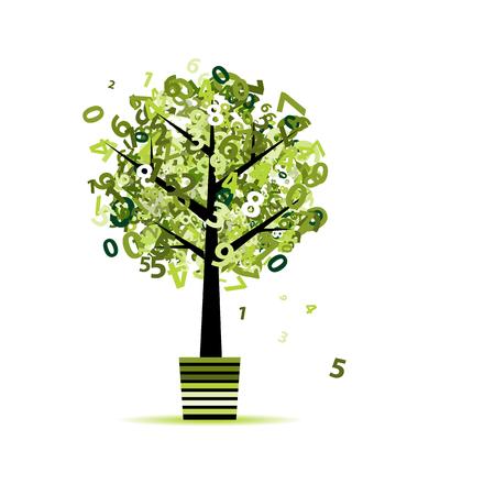 Grüner Baum mit Zahlen Blatt in Topf für Ihren Entwurf Standard-Bild - 50022126