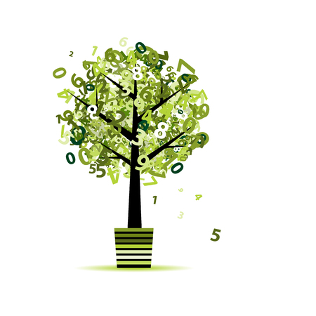 Green tree with numbers leaf in pot for your design Illustration