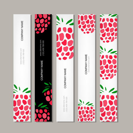 raspberry: Banners template, raspberry design vector illustration Illustration