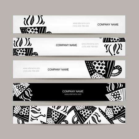 horizontal: Banners template, coffee cup design. Vector illustration