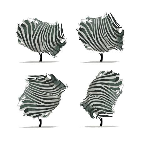 skin art: Zebra tree for your design. Vector illustration