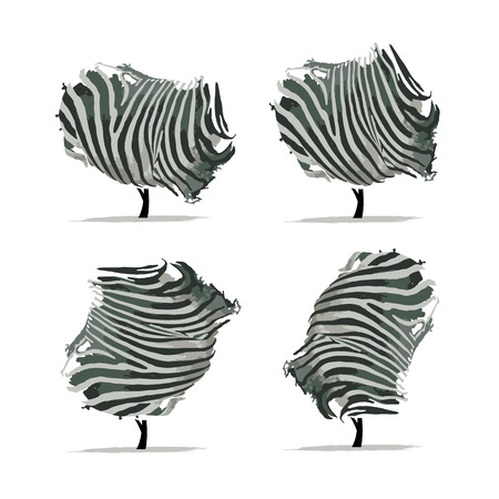 camouflage skin: Zebra tree for your design. Vector illustration